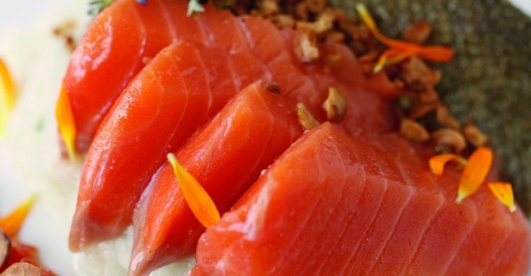 Salmón macerado en aceite de avellana, crujiente de piel de salmón, puré de topinambur, crujiente de avellanas tostadas