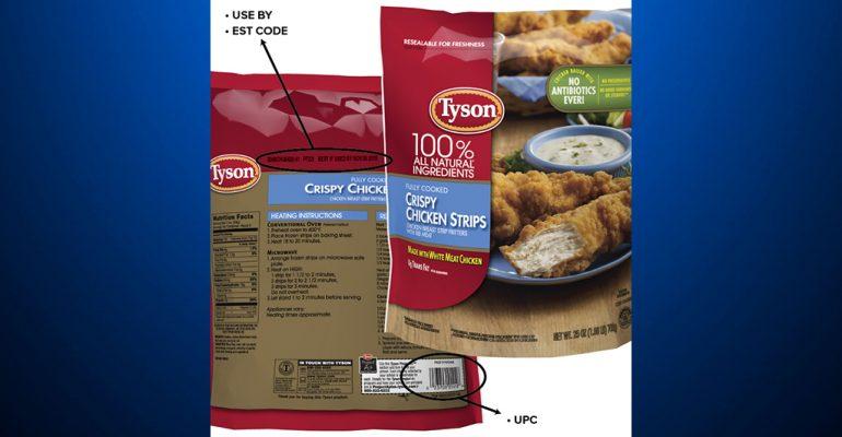 Contaminación de comida preparada de pollo marca Tyson conduce a su retiro